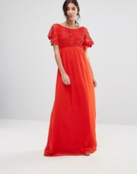 Traffic People Lace Capped Sleeve Maxi Dress Red
