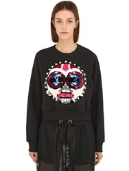 No Ka' Oi Makini Embroidered Cotton Sweatshirt Black