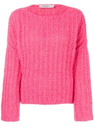 Valentino Boat Neck Jumper Pink And Purple