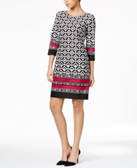 Nine West Graphic Print Shift Dress Black White Pink