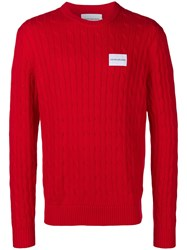 Calvin Klein Jeans Cable Rib Sweater Red