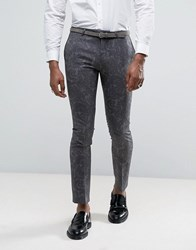 Noose And Monkey Super Skinny Tuxedo Suit Trousers In Paisley Grey