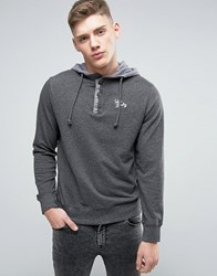 Tokyo Laundry Overhead Button Neck Contrast Hoodie Grey