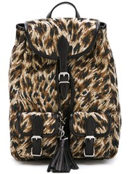 Saint Laurent Animal Pattern Backpack Black