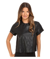 Just Cavalli Eco Leather Cropped T Shirt Black
