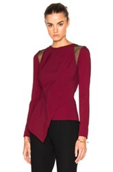 Roland Mouret Ebner Crepe And Layered Lace Top In Red