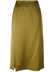 Lanvin Side Slit Midi Skirt Green