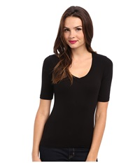 Splendid 1X1 Half Sleeve V Neck Top Black Women's T Shirt