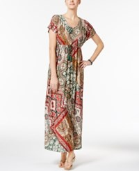 Style And Co Printed Maxi Dress Only At Macy's Bohemian Floral