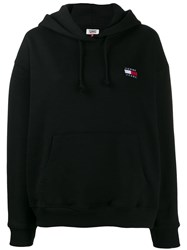 Tommy Jeans Logo Embroidered Hoodie Black