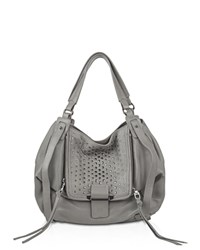 Kooba Jonnie Studded Leather Tote French Gray Silver