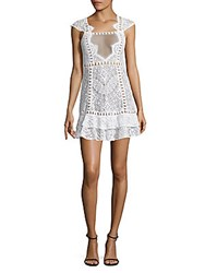 For Love And Lemons Cap Sleeve Lace Dress White