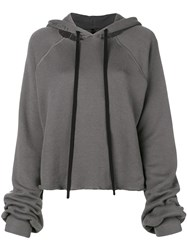 Unravel Project Cropped Destroyed Hoodie Grey