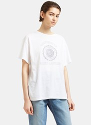 Saint Laurent University Logo Print Crew Neck T Shirt White