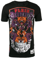 Philipp Plein Embellished Patch T Shirt Men Cotton Crystal M Black