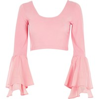 River Island Womens Pink Double Bell Sleeve Crop Top