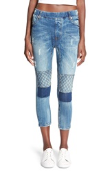 One Teaspoon 'Killers' Patchwork Crop Jeans Pure Blue