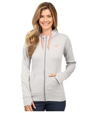 The North Face Fave Full Zip Hoodie Tnf Light Grey Heather Feather Orange Women's Sweatshirt Gray