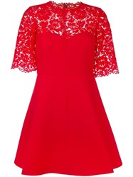 Valentino Lace Crepe Couture Dress Red