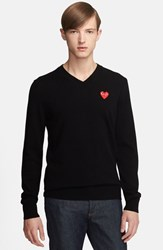 Men's Comme Des Garcons 'Play' Wool V Neck Sweater With Heart Applique Black
