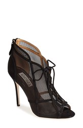 Badgley Mischka Women's 'Foley' Mesh Bootie Black Suede