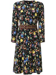 Etro Floral Print Dress Women Silk 40 Black