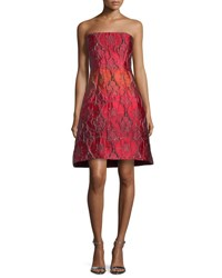 Alberta Ferretti Strapless Jacquard Party Dress Fantasy Print Red