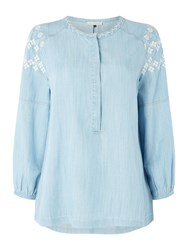 Maison De Nimes Embroidered Tencel Top Blue