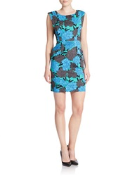 Plenty By Tracy Reese Floral Print Sheath Dress Stained Glass