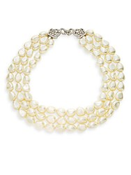Kenneth Jay Lane Three Strand Faux Pearl Necklace Polished Gold