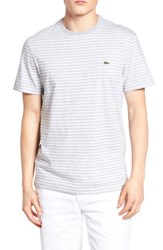 Lacoste Men's Striped T Shirt Silver Chine White