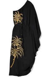 Figue Maisie One Shoulder Embellished Embroidered Crepe De Chine Dress Black