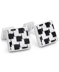 Ike Behar Men's Onyx Geometric Cuff Links Black