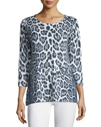 Neiman Marcus Cashmere Collection 3 4 Sleeve Leopard Print Cashmere Tunic Vapid White