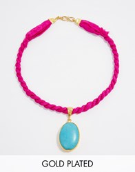 Ottoman Hands Turquoise And Hot Pink Necklace Pink