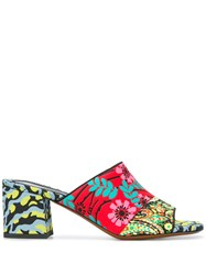 Etro Multi Pattern Heeled Sandals Red