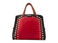 Just Cavalli Gummed Leather With Studs Top Handle Bag