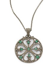 Bavna Diamond Emerald And Sterling Silver Pendant Necklace