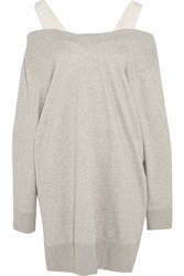 Maison Martin Margiela Mm6 Canvas Trimmed Stretch Cotton Blend Jersey Sweater Dress Light Gray