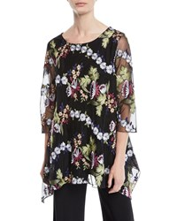 Caroline Rose 3 4 Sleeve Floral Embroidered Mesh Lined Tunic Plus Size Multi Black