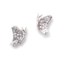 J. Herwitt Small Butterfly Earrings Silver