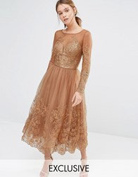 Chi Chi London Embroidered Lace Tulle Dress With Long Sleeve Deep Tan Brown