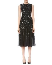 Carolina Herrera Dotted Sequin Tulle Cocktail Dress Black White Black White
