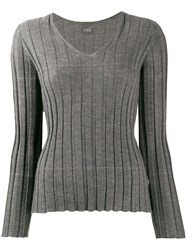 Lorena Antoniazzi V Neck Cashmere Sweater Grey
