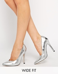 Asos Positive Wide Fit Pointed High Heels Silver