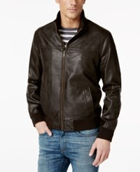 Tommy Hilfiger Big And Tall Faux Leather Stand Collar Bomber Jacket Dark Brown