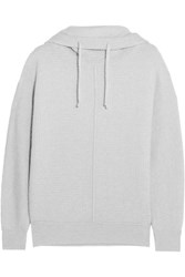 James Perse Waffle Knit Cashmere Hooded Sweater Light Gray