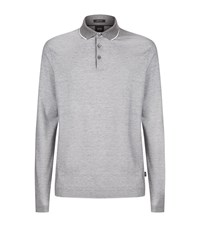 Boss Contrast Trim Polo Shirt Grey