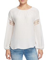 B Collection By Bobeau Gracie Crochet Inset Blouse Ivory