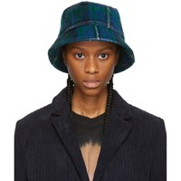 Ymc Green And Blue Mohair Bucket Hat